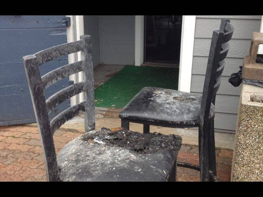 Damaged chairs from The Thirsty Whale after it caught fire during severe thunderstorms in Minocqua on Friday, June 10.