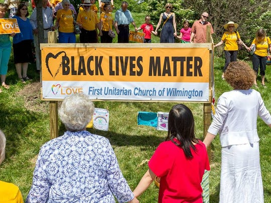 A Black Lives Matter banner was dedicated at First Unitarian Church along Concord Pike (U.S. 202) in Talleyville in May.