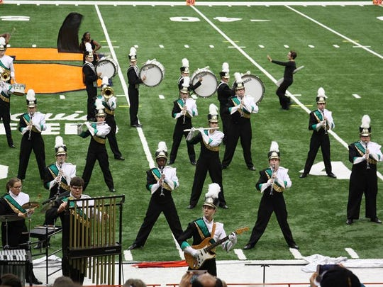 Vestal Marching band performs during the New York State Field Band Conference Championship.