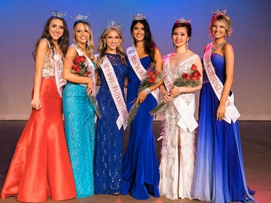 From left: Phoenix Outstanding Teen 2017 Cassidy Miller, Miss Phoenix 2017 Alyssa Scofield, Maricopa County Outstanding Teen 2017 Ela Wootton, Miss Maricopa County 2017 Courtney Ortega, Miss Scottsdale 2017 Laetitia Hua, Scottsdale Outstanding Teen 2017 Alyssa Hart were crowned at the preliminary Miss Arizona pageant in Mesa on Nov. 12, 2016.