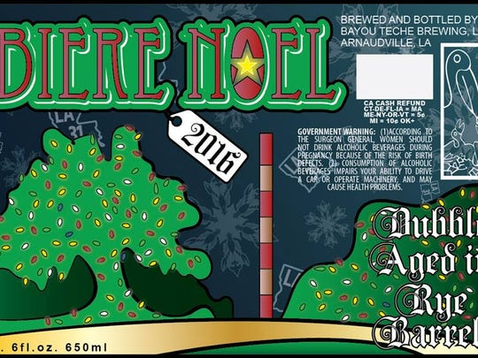 Bayou Teche Brewing's Biere Noel recipe changes year to year. This year's is aged in rye barrels.