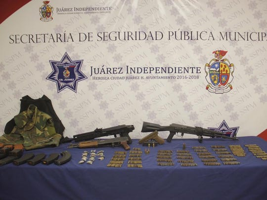 Firearms allegedly belonging to the Mexicles gang were