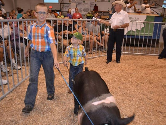 Colton Grinstead shows his swine at the Fond du Lac