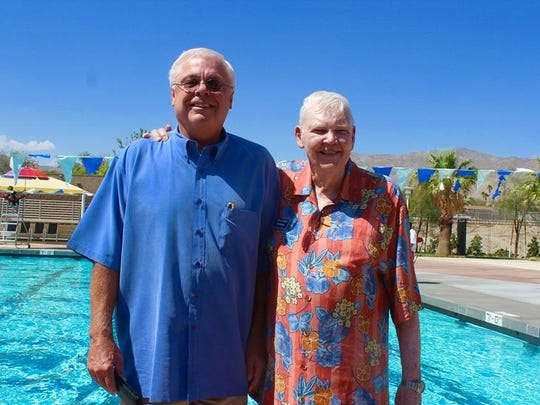 John Furbee, right, with Arden Wallum, General Manager of Mission Springs Water District, at the Furbee Aquatic Center.