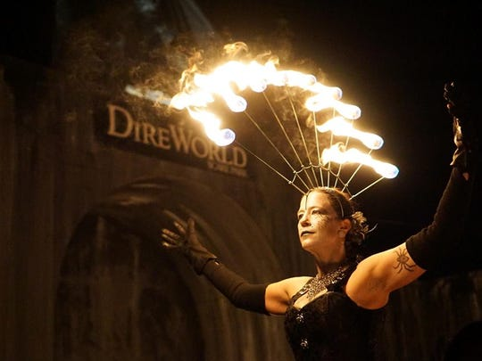 The fire dancing troupe Sacred Fire Dance Company will