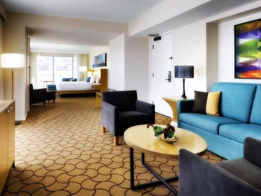 "A sample ""Spruce"" room design to be used at the downtown Marriott after its renovation."