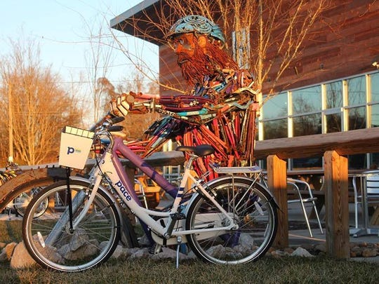 Alliance Brewing Co. lends its bike sculpture as a fun backdrop for a new Pace bike.