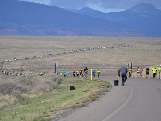 Participants in the half-marathon as part of the Shiprock