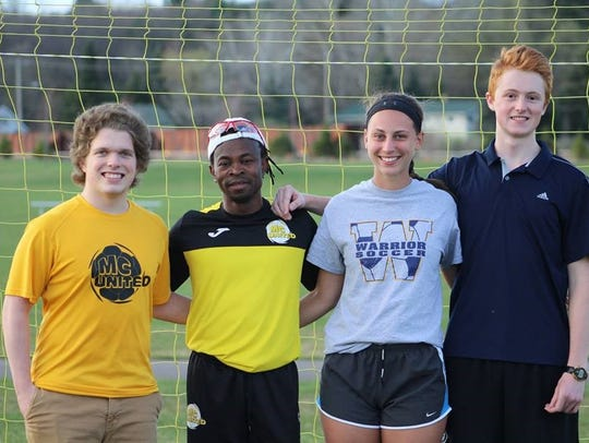 Proceeds from the MC United Mountain Bay Cup Tournament, taking place May 3-5, 2019, in Wausau, help to fund Duronet Charles Scholar Athlete Scholarships. Pictured are 2018 honorees, from left, Matt Lukasik, Duronet Charles, Natalie Lucht and Varick Peak.