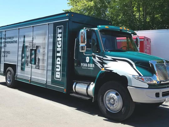 A new Bud Light truck commemorates the Eagles' Super