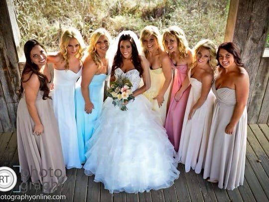 Unmatch-y bridesmaid dresses (and bridal gown) from The Bridal Suite of Louisville.