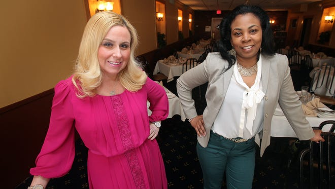 "Bridget O'Brien, left, a public relations business owner, and Michelle Christie, founder of MACs Women, a network community for female entrepreneurs, are organizing a forum on April 24 modeled after television's ""Shark Tank."""