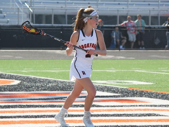 Maggie Hammer paced Rockford's offense with five goals in the Rams' 17-7 win.