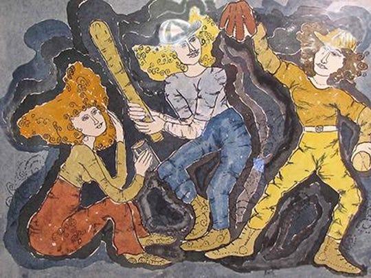 """Baseball Girls,"" watercolor by Anita Beckstrom, part"
