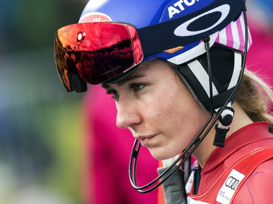 Mikaela Shiffrin of the United States stands  in the finish area after falling during the second run of the women's Slalom race at the Alpine Skiing World Cup in Lenzerheide, Switzerland, Sunday, Jan. 28, 2018.