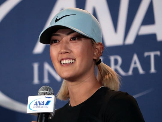 Michelle Wie speaks to media at the ANA Inspiration