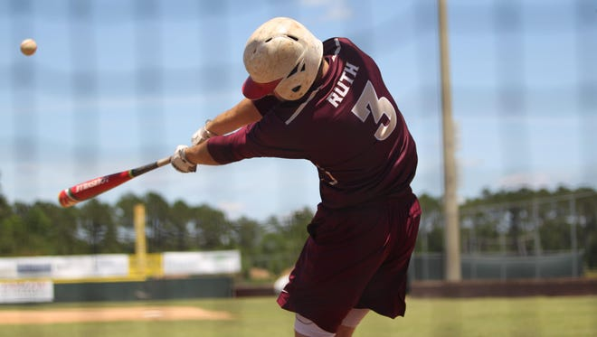 Gainesville Oak Hall's Richard Ruth hits during batting practice with summer league team Tallahassee Post 13.