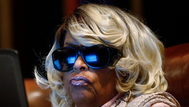 Memphis City Council member Janis Fullilove wears protective eyewear during a recent council session.