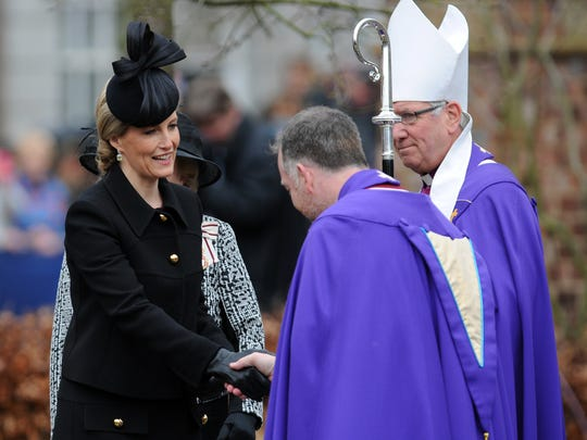 Sophie, The Countess of Wessex, is greeted by the Dean