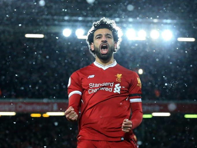 Liverpool's Mohamed Salah celebrates after scoring