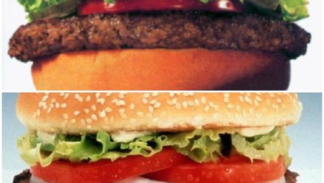 Top: McDonald's Big Mac; Bottom: Burger King's Whopper
