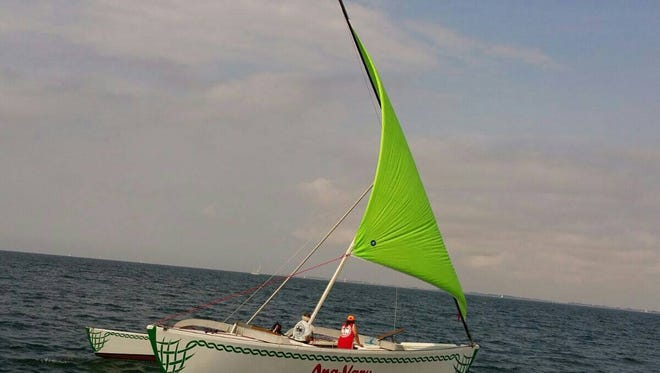 """German adventurer Burghard Pieske and Guam seafarer Ignacio Camacho practice sailing the 'Ana Varu, a Chamorro-style proa, in the Ostsee, south of Denmark and the Baltic Sea. Pieske and Camacho are preparing to sail the proa from Taiwan to Guam this year as part of Pieske's """"Rapa Nui Experiment."""""""
