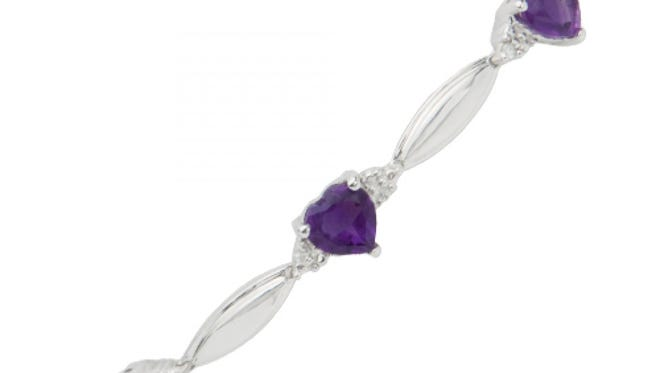 Amethyst Heart-shaped Bracelet with Diamond Accents