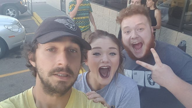This photo provided by A.J. Krumholz (right) shows the Mitchell resident in a photo with Shia LaBeouf and Ashton Wiegand, of Mitchell.