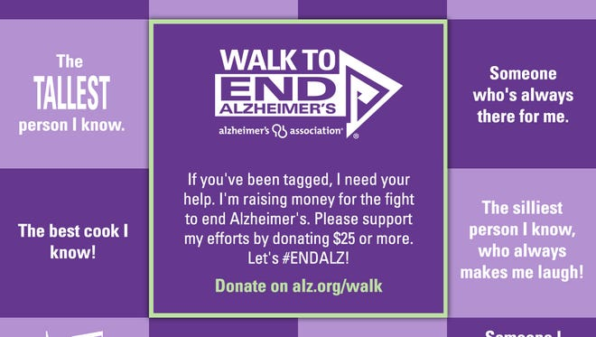 Post this image to your Facebook and tag your friends to help raise money for The Walk to End Alzheimers.