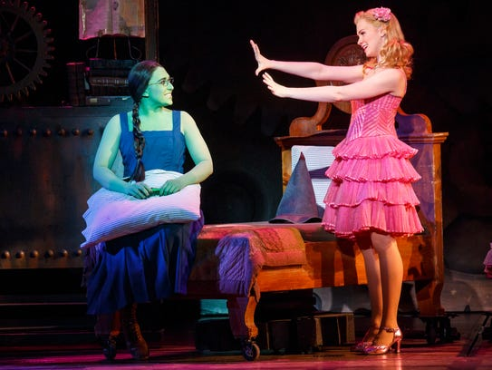 Jessica Vosk (L) plays Elphaba and Ginna Claire Mason