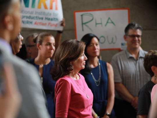 Lt. Gov. Kathy Hochul joins state Assemblywoman Deborah Glick in Manhattan on Tuesday to demand the state Senate return to Albany and pass the Reproductive Health Act.
