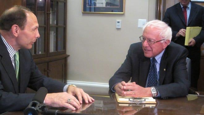 Bob McDonald meets with Sen. Bernie Sanders, chairman of the Senate Veterans' Affairs Committee.