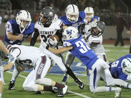 Seymour's Darius Watson is tackled by Windthorst's