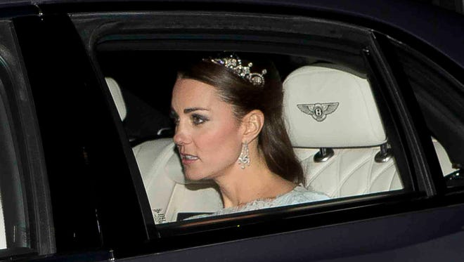 Duchess Kate of Cambridge and husband Prince William attended the Diplomatic Reception at Buckingham Palace on Dec. 3.