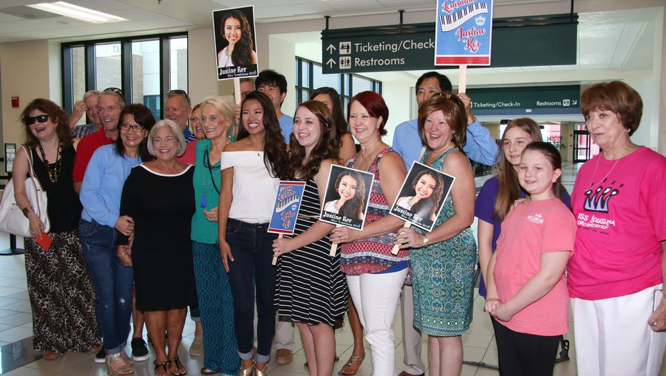 Supporters of Miss Louisiana Justine Ker gather at