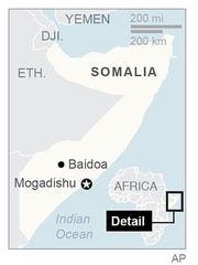 Map locates the cities Mogadishu and Baidoa in Somalia.