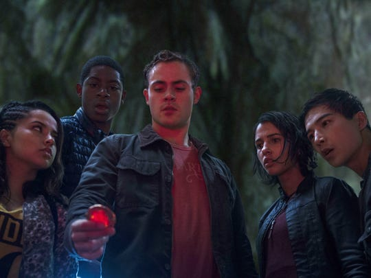 "Becky G, RJ Cyler, Dacre Montgomery, Naomi Scott and Ludi Lin appear in a scene from ""Power Rangers."""