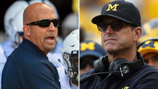 FILE - At left, in an Oct. 20, 2018, file photo, Penn State head coach James Franklin waits to lead the team onto the field before the first half of an NCAA college football game against Indiana, in Bloomington, Ind. At right, in a Sept. 22, 2018, file photo, Michigan head coach Jim Harbaugh watches in the second half of an NCAA football game against Nebraska, in Ann Arbor, Mich. No. 14 Penn State plays at No. 5 Michigan on Saturday. (AP Photo/File)
