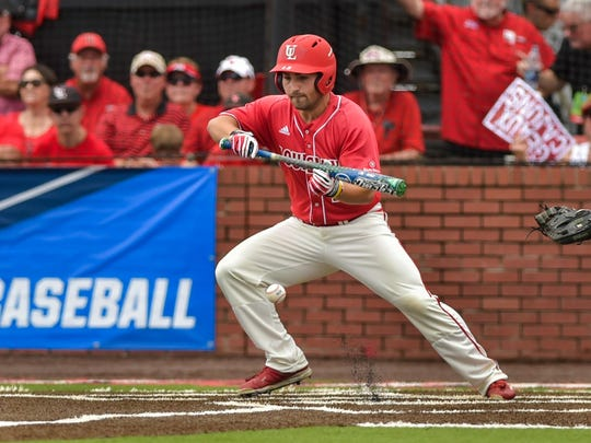 Brenn Conrad lays down a bunt as the Cajuns faced off