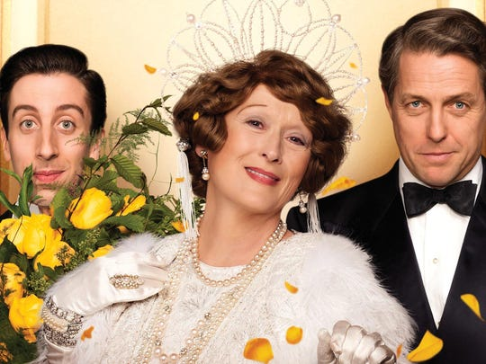 "Simon Helberg, Meryl Streep, and Hugh Grant in a scene from ""Florence Foster Jenkins."""