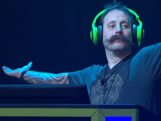 Geoff Ramsey with hands up