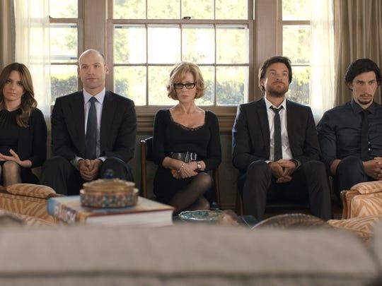 "Tina Fey as Wendy Altman, Corey Stoll as Paul Altman, Jane Fonda as Hilary Altman, Jason Bateman as Judd Altman and Adam Driver as Phillip Altman in ""This is Where I Leave You."""