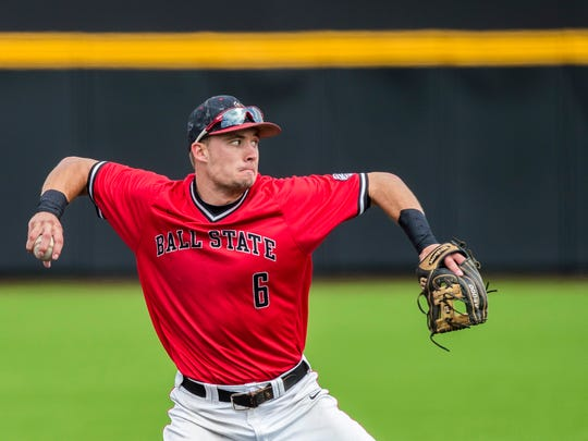 Ball State's Alex Maloney throws across the diamond during the 2017 season.