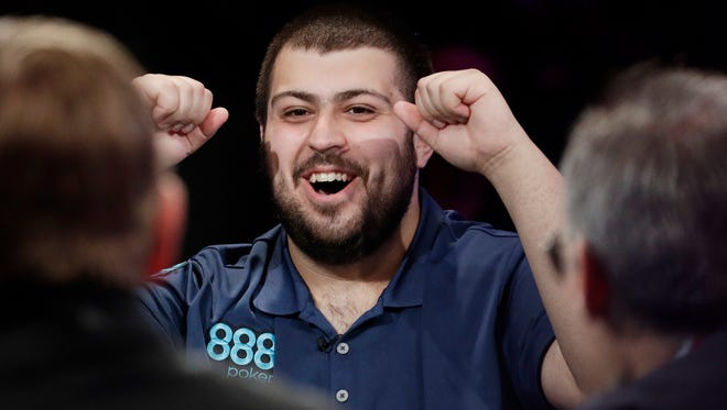 Morristown native Scott Blumstein reacts after a hand during the main event of the World Series of Poker, Thursday, July 20, 2017, in Las Vegas