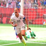 United States midfielder Carli Lloyd (10) reacts after scoring a goal against Japan in the first half of the final of the FIFA 2015 Women's World Cup at BC Place Stadium.