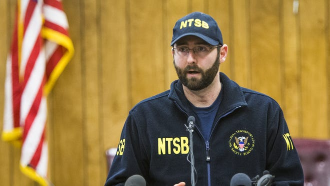 National Transportation Safety Board investigator Stephen Stein holds a press conference at Boulder City, Nevada, City Hall to discuss the crash of a tourist helicopter in the Grand Canyon that killed three and critically injured four others.