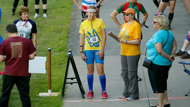 Maryna Chekhunova of Ukraine waits to be called to the start of the sprint 1.8 kilometer race of the World Deaf Orienteering Championship at RIT.