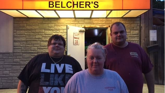 Margie Belcher and her sons, Thomas, at left, and Matt, at right, want justice for her husband and their father, the late Thomas Belcher, who was shot and killed at his home on Aug. 28 last year. The Belchers are hoping improvements to the bar, along with live music, will bring back customers, many who left after Belcher's death.