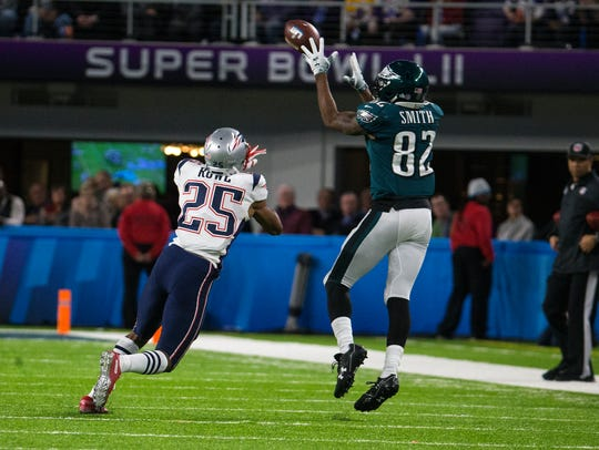 Torrey Smith, who plays for the Panthers, said he'll never forget his one season with the Eagles, which culminated in the Super Bowl as he's shown catching a pass over Patriots cornerback Eric Rowe.