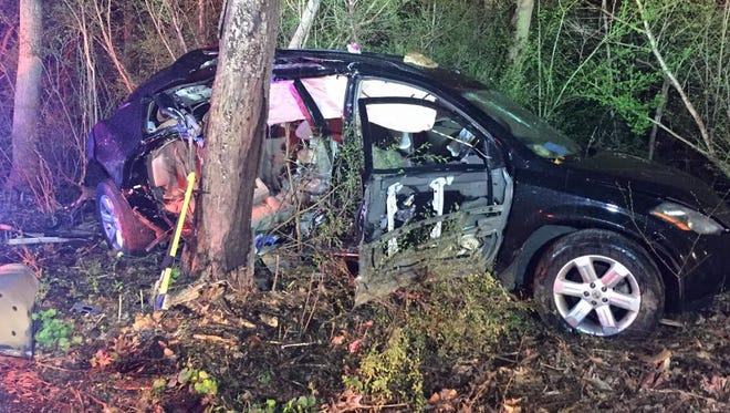 A car was found crashed into the woods off of Tyler Run Road on Saturday. The car was found unoccupied, fire officials said.